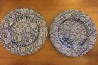 NEW 2 Queen's Malaysia Salad Plates Calico Blue 8 3/8