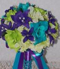 20pcs Turquoise Green Purple Lily Rose Hydrangeas Wedding Bridal Bouquet Package