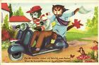 Scooter Vespa cats having fun artist postcard