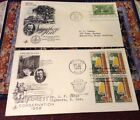 Theodore Roosevelt First Day Cover (FDC) 1953-1958 Lot/ 2 pieces