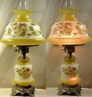 73 QUOIZEL ELECTRIC HP GLASS VICTORIAN GWTW PARLOR 29 LAMP 3 WAY LIGHT WORKS