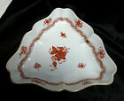 Vintage Herend Hand Painted  RUST  Chinese Bouquet Triangular Serving Bowl #1191
