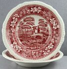 ESTATE DINNERWARE- OLDER SPODE TOWER PATTERN IN RED 2PC LOT 7 3/4