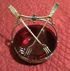 Meriden B Co Quad Silverplate #88 Swing Handle Basket With Ruby Red Glass Insert