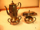 Vintage Sheridan Silver on Copper Silverplate Tea/Coffee Set and Butter Dish