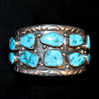 Substantial Navajo Sterling Silver & Turquoise Cuff Braeclet, Old Pawn/Estate