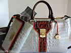 Brahmin Courtney Seashell Tri Color Leather Satchel Bag + Checkbook Wallet NWT