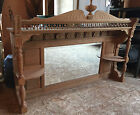 Antique Victorian Quarter Sawn Tiger Oak Fireplace Mantle- Late 1800's