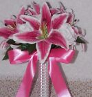 25PCS Stargazer Lily Pink White Rose Silver on stems Wedding Bridal Bouquet Set