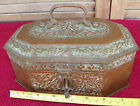 Crafts Art Noveau Repousse Copper Candle Tea Box Chest 8 1/4 long