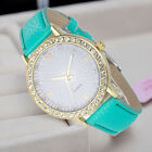 Fashion Womens Diamond Leather Stainless Steel Quartz Wrist Watch For Girl Gift