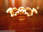 Fenton Amber Snow Crest Double Crimped Ruffled Edge 10 1 2 Glass Bowl