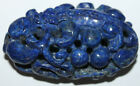 Chinese Hand Carved Lapis Lazuli Reticulated Dragon Necklace Pendant