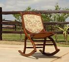 14131/ Antique Victorian Wood Tapestry Folding Rocking Chair ~ Estate Item