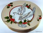 Retired Fitz & Floyd CHRISTMAS HOLLY DOVE Dessert / Salad Plate Set of FOUR