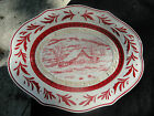 Fitz & Floyd Town & Country Red Winter Farm House Leaves Embossed White Platter