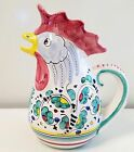 Deruta pottery hand painted rooster pitcher 10.5