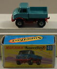 DTE LESNEY MATCHBOX TRANS SUPERFAST 49-A TEAL/RED MERCEDES UNIMOG W/WIDE WHEELS