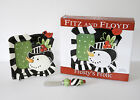 Fitz and Floyd FF Christmas Frosty's Frolic Snack Plate & Spreader in Box
