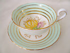 E England Green ~ YELLOW PINK ROSE ~ Gold Bands TEACUP tea cup