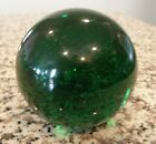Antique Gazing witches ball Vintage glass bubble Paperweight Huge GREEN Garden