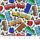 Connector Playmats cotton quilt fabric by Northcott Train Station Trains White