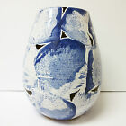 Vintage French Faience Les Hurets Ceramic Vase Large Ovoid Blue White Signed