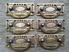 6 Arts and Crafts antique style brass handles pulls hardware  3 1/8