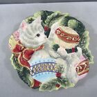 Fitz & Floyd Essentials Kristmas Kitty Christmas Cat Canape Plate NEW