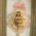 Vintage Virgin Mary Our Lady rhinestones crown kitsch religious shabby wall Art