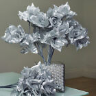 84 Silver SILK OPEN ROSES Wedding Discounted Flowers Bouquets for Centerpieces