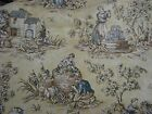 LA DOLCE VITA French Country Toile Blue Yellow  WAVERLY Decorator FABRIC
