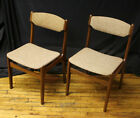 2 Vintage Mid Century Modern Danish Walnut Wood Wooden Dining Side Accent Chairs