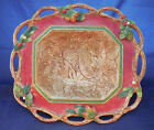 FITZ AND FLOYD CHRISTMAS LODGE WITH LEAVES HUGE SERVING TRAY BOWL