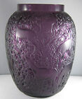 Rare Purple  LALIQUE Biches Doe Deer Forest Frosted Crystal Vase