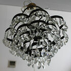 Original 1920's 1930's Antique French Crystal Chandelier,Works, European Sockets