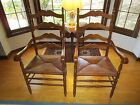 2 VINTAGE LADDER BACK ARM CHAIRS RUSH SEATS MAPLE EARLY 1950's