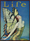 Art print on SILK Vintage Life Mag Cover Lady w Butterfly Wings