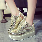 New Fashion Woman Flats Gold Sneakers Creeper Round Toe High Platform Shoes F6