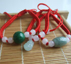 1pcs Handmade Natural Oval Jade Charms Beads Red String Silk Rope Braelet