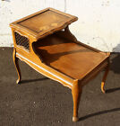 Vintage Antique MCM Solid Wood Wooden Leather Metal Side End Accent Table Stand