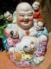 Vintage Chinese Porcelain Laughing Happy Buddha Famille Rose Verte