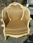 Vintage French Provincial Gold  Wing Back  Lounge Bergere Arm Chair