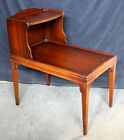Vintage 2 Tier Solid Wood Wooden Mahogany Side Corner End Accent Table Shelf