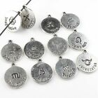 Assorted Antique Silvery Charms Constellation Signs Of Zodiac Alloy Pendant D