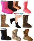 New Youth Girls Kids Mid Calf Faux Suede Flat Button Winter Stylish Shoes Boots