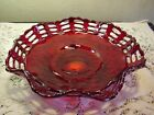 Fenton Glass Open Edge 3 row Basketweave Amberina Footed Bowl Vintage 30s