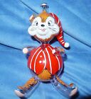 VTG FIGURAL BEDTIME CHIPMUNK GLASS CHRISTMAS ORNAMENT ITALIAN ITALY