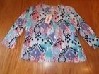 NWT WOMENS RUBY RD BLUE ORANGE EMBELLISHED 3 4 SLEEVE KNIT TOP SHIRT LARGE