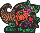 GIVE THANKS THANKSGIVING PATCH ron On Embroidered Patch HolidayAutumn